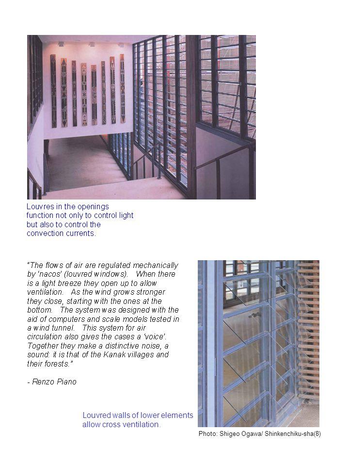 Louvred walls of lower elements allow cross ventilation. Photo: Shigeo Ogawa/ Shinkenchiku-sha(8)