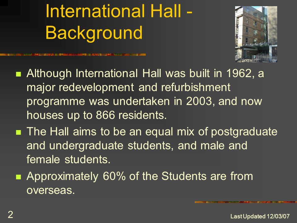 Last Updated 12/03/07 1 International Hall abcdef Summer Accommodation 2007