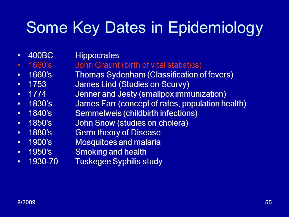 8/200955 Some Key Dates in Epidemiology 400BCHippocrates 1660'sJohn Graunt (birth of vital statistics) 1660'sThomas Sydenham (Classification of fevers