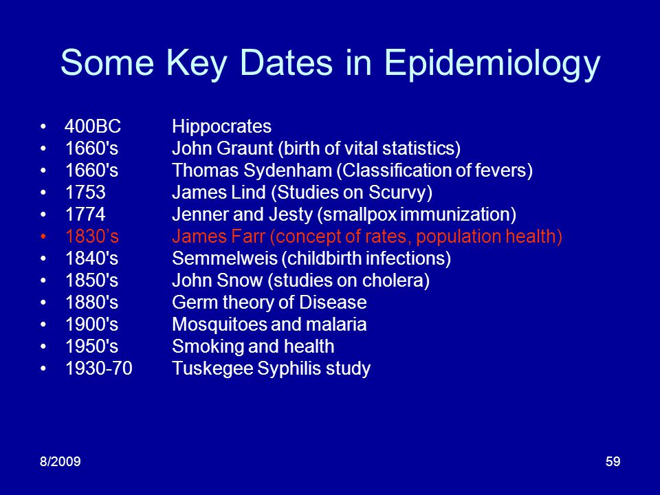 8/200959 Some Key Dates in Epidemiology 400BCHippocrates 1660'sJohn Graunt (birth of vital statistics) 1660'sThomas Sydenham (Classification of fevers