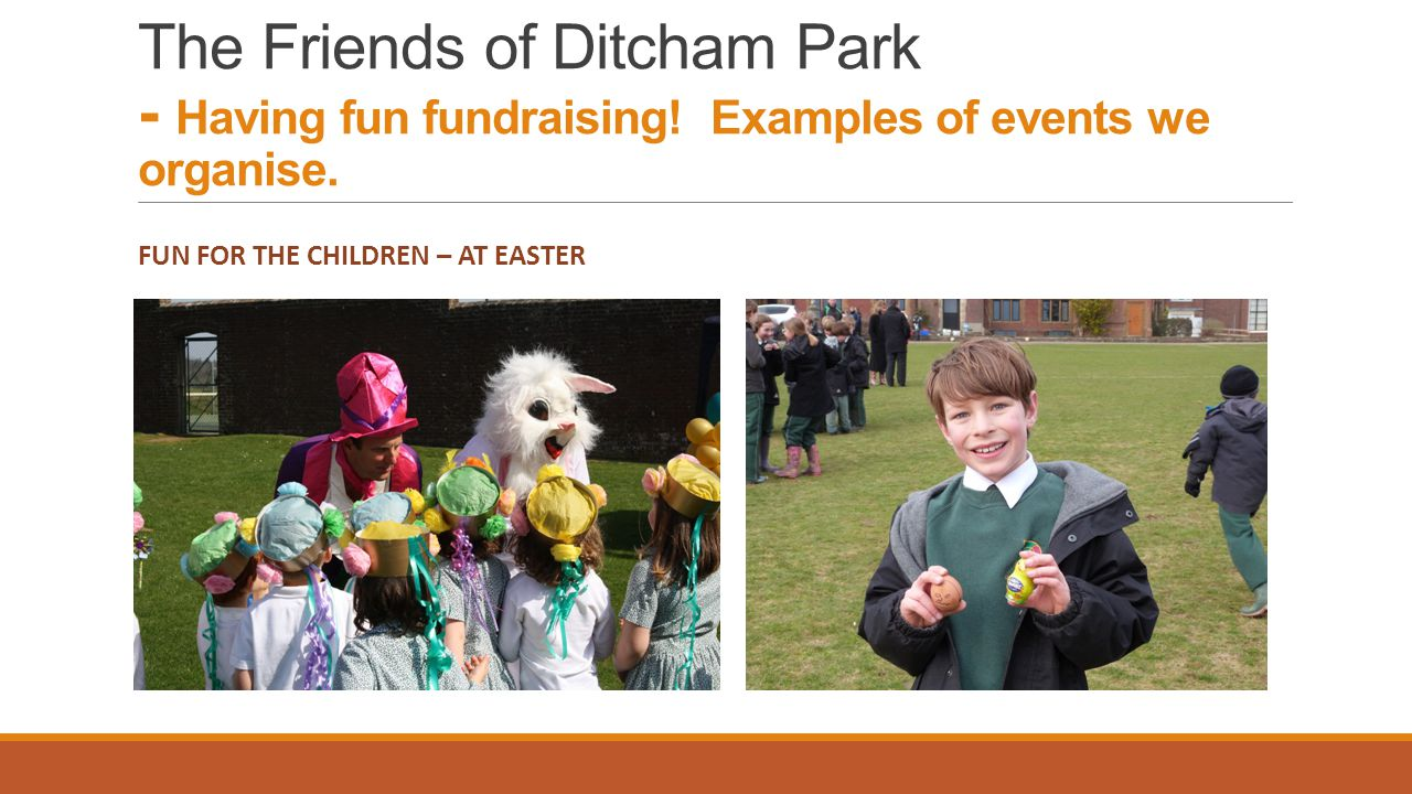 FUN FOR THE CHILDREN – AT EASTER The Friends of Ditcham Park - Having fun fundraising.