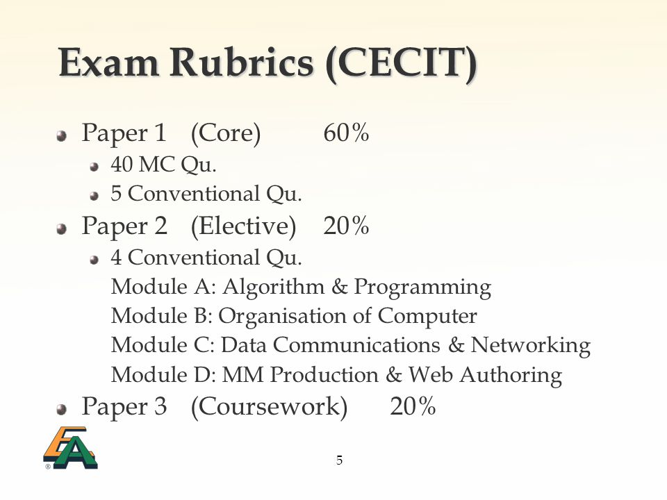5 Exam Rubrics (CECIT) Paper 1(Core)60% 40 MC Qu. 5 Conventional Qu.