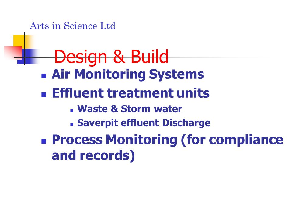 Arts in Science Ltd Design & Build Air Monitoring Systems Effluent treatment units Waste & Storm water Saverpit effluent Discharge Process Monitoring (for compliance and records)