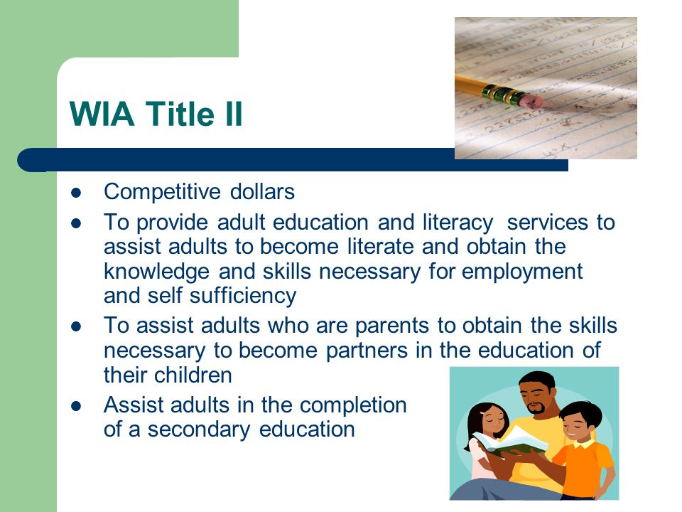 WIA II –EL Civics To help students become more proficient in English; EFF standards Increase awareness of US systems To achieve competency as family members, citizens and workers.