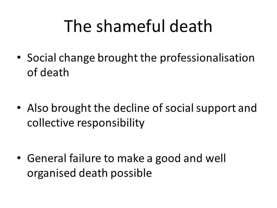 The shameful death Early deaths through poverty, inequality and lack of services Massive gap in lifespan between the rich and poor within and between countries