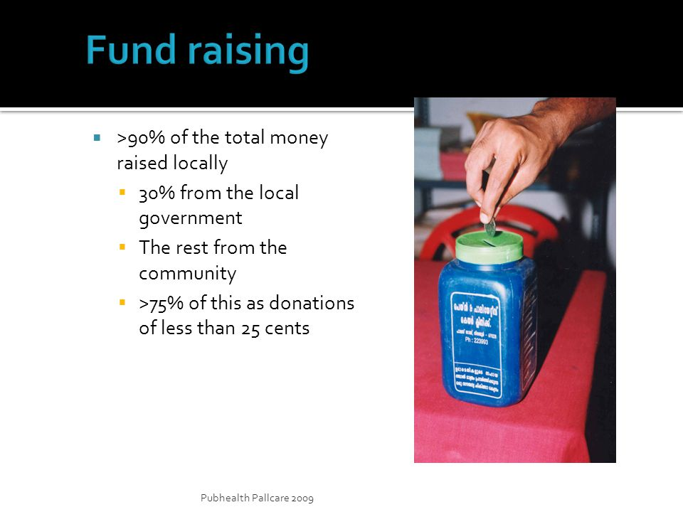 Pubhealth Pallcare 2009 >90% of the total money raised locally 30% from the local government The rest from the community >75% of this as donations of less than 25 cents