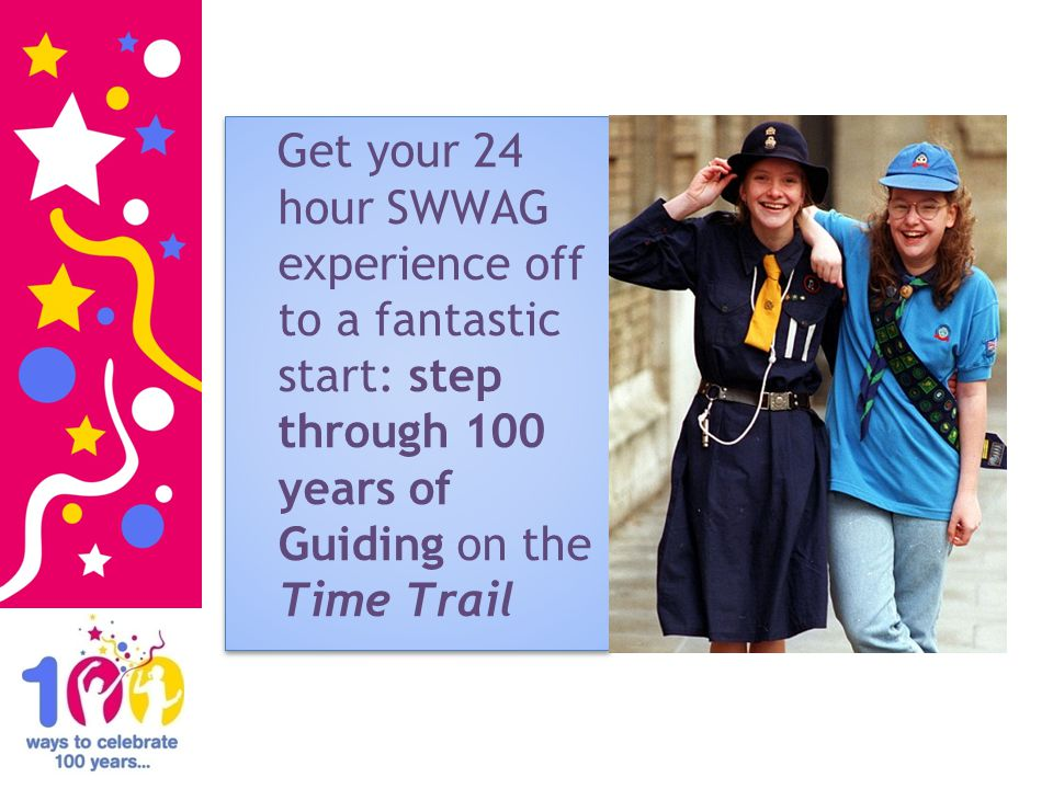 Get your 24 hour SWWAG experience off to a fantastic start: step through 100 years of Guiding on the Time Trail