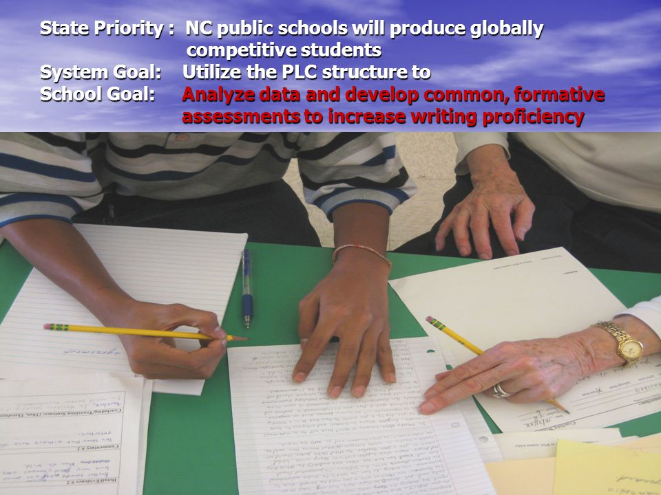 State Priority : NC public schools will produce globally competitive students System Goal: Utilize the PLC structure to School Goal: Analyze data and develop common, formative assessments to increase writing proficiency Smart Goal: K – 2 Literacy This year, at least 80% of k – 2 students will score proficiency in writing.