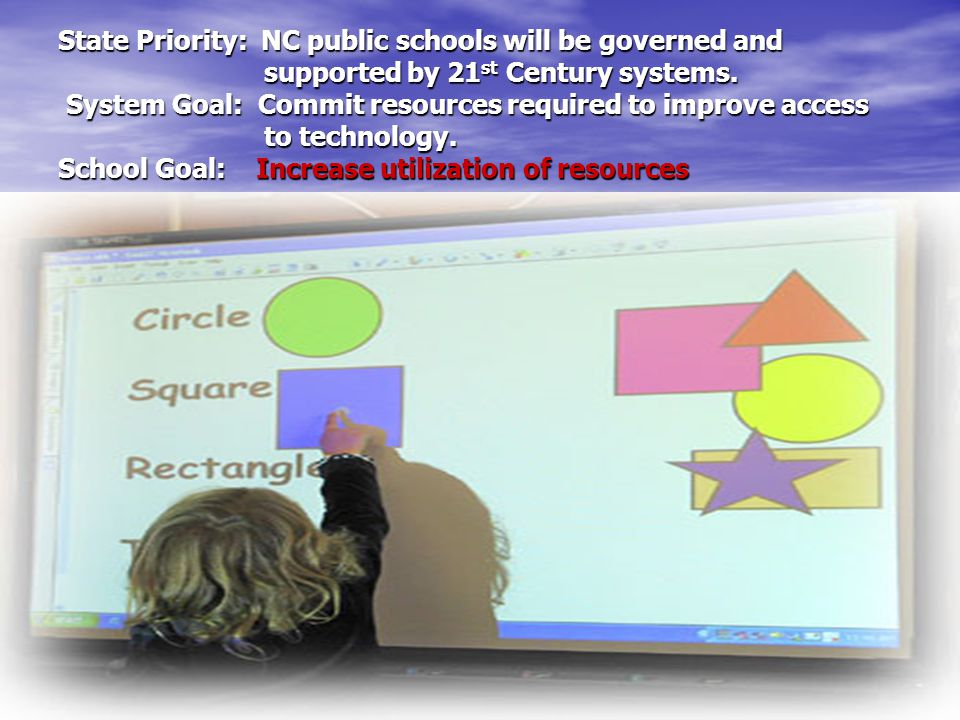 State Priority: NC public schools will be governed and supported by 21 st Century systems.