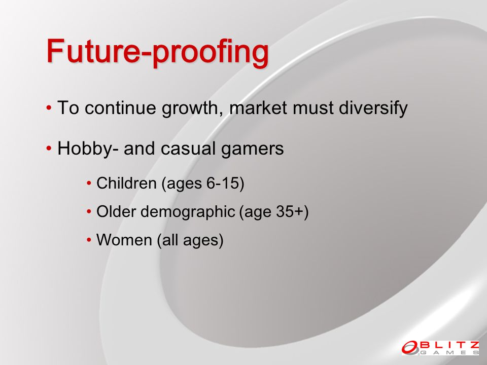 Future-proofing To continue growth, market must diversify Hobby- and casual gamers Children (ages 6-15) Older demographic (age 35+) Women (all ages)