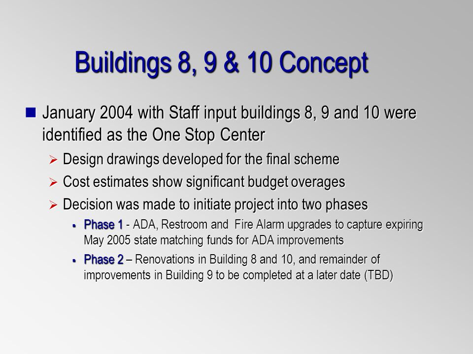 Buildings 8, 9 & 10 Concept January 2004 with Staff input buildings 8, 9 and 10 were identified as the One Stop Center January 2004 with Staff input buildings 8, 9 and 10 were identified as the One Stop Center Design drawings developed for the final scheme Design drawings developed for the final scheme Cost estimates show significant budget overages Cost estimates show significant budget overages Decision was made to initiate project into two phases Decision was made to initiate project into two phases Phase 1 - ADA, Restroom and Fire Alarm upgrades to capture expiring May 2005 state matching funds for ADA improvements Phase 1 - ADA, Restroom and Fire Alarm upgrades to capture expiring May 2005 state matching funds for ADA improvements Phase 2 – Renovations in Building 8 and 10, and remainder of improvements in Building 9 to be completed at a later date (TBD) Phase 2 – Renovations in Building 8 and 10, and remainder of improvements in Building 9 to be completed at a later date (TBD)