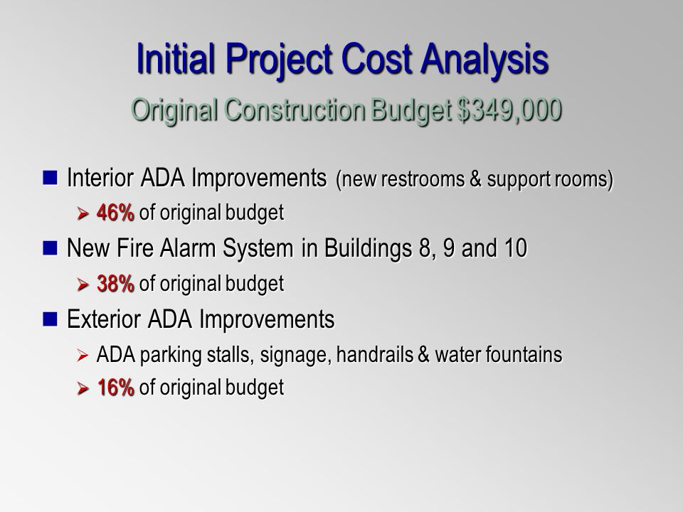 Initial Project Cost Analysis Original Construction Budget $349,000 Interior ADA Improvements (new restrooms & support rooms) Interior ADA Improvements (new restrooms & support rooms) 46% of original budget 46% of original budget New Fire Alarm System in Buildings 8, 9 and 10 New Fire Alarm System in Buildings 8, 9 and 10 38% of original budget 38% of original budget Exterior ADA Improvements Exterior ADA Improvements ADA parking stalls, signage, handrails & water fountains ADA parking stalls, signage, handrails & water fountains 16% of original budget 16% of original budget