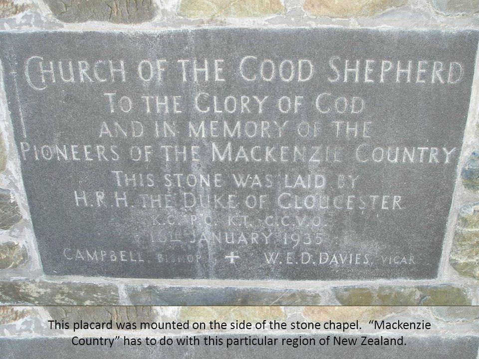 This placard was mounted on the side of the stone chapel.