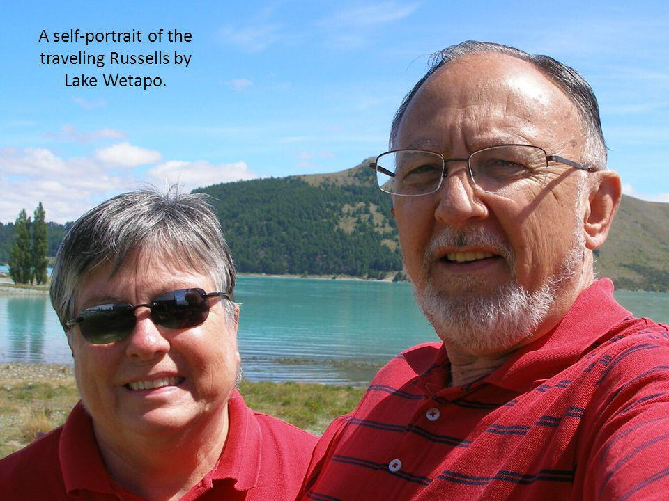 A self-portrait of the traveling Russells by Lake Wetapo.