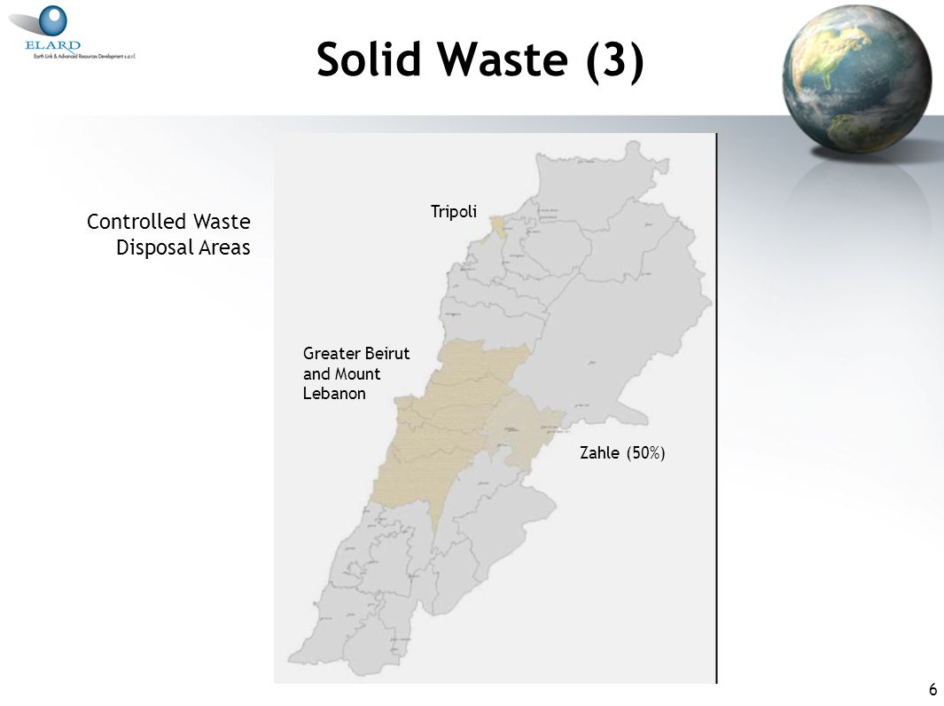 6 Solid Waste (3) Greater Beirut and Mount Lebanon Zahle (50%) Tripoli Controlled Waste Disposal Areas