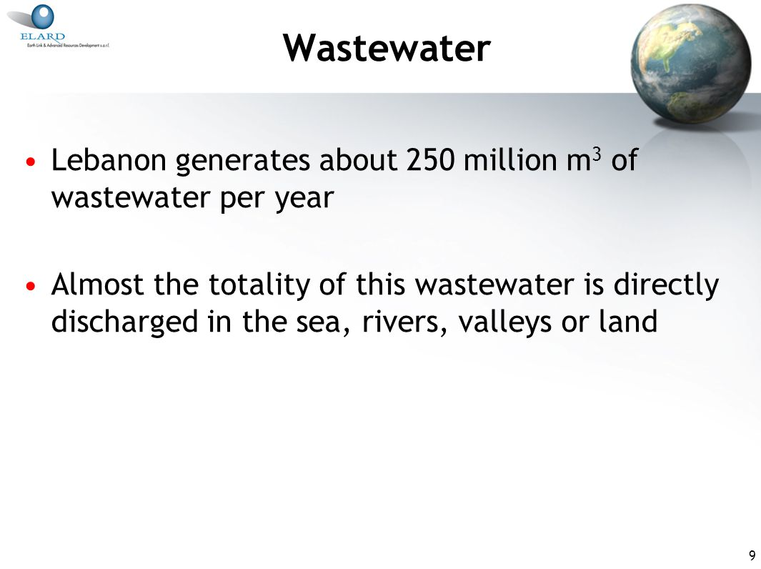 9 Wastewater Lebanon generates about 250 million m 3 of wastewater per year Almost the totality of this wastewater is directly discharged in the sea, rivers, valleys or land