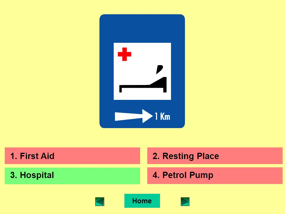 Home 1. First Aid2. Resting Place 3. Hospital4. Petrol Pump