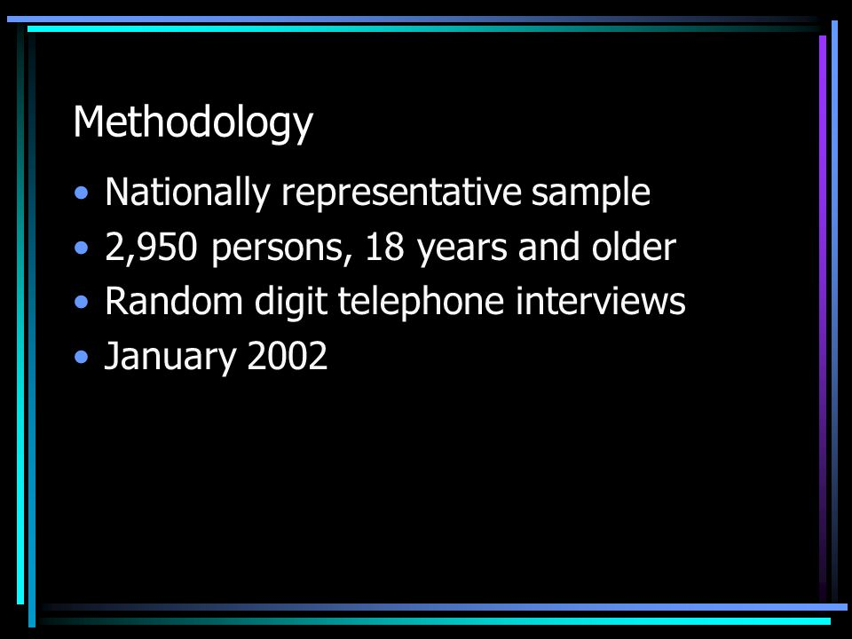 Methodology Nationally representative sample 2,950 persons, 18 years and older Random digit telephone interviews January 2002