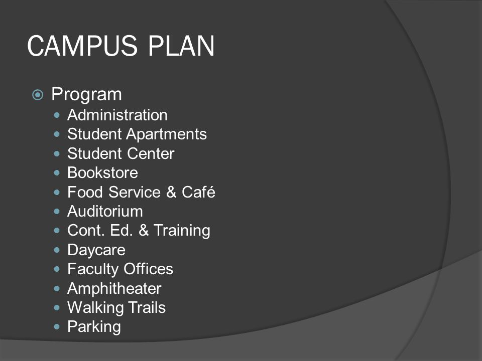CAMPUS PLAN Program Administration Student Apartments Student Center Bookstore Food Service & Café Auditorium Cont. Ed. & Training Daycare Faculty Off