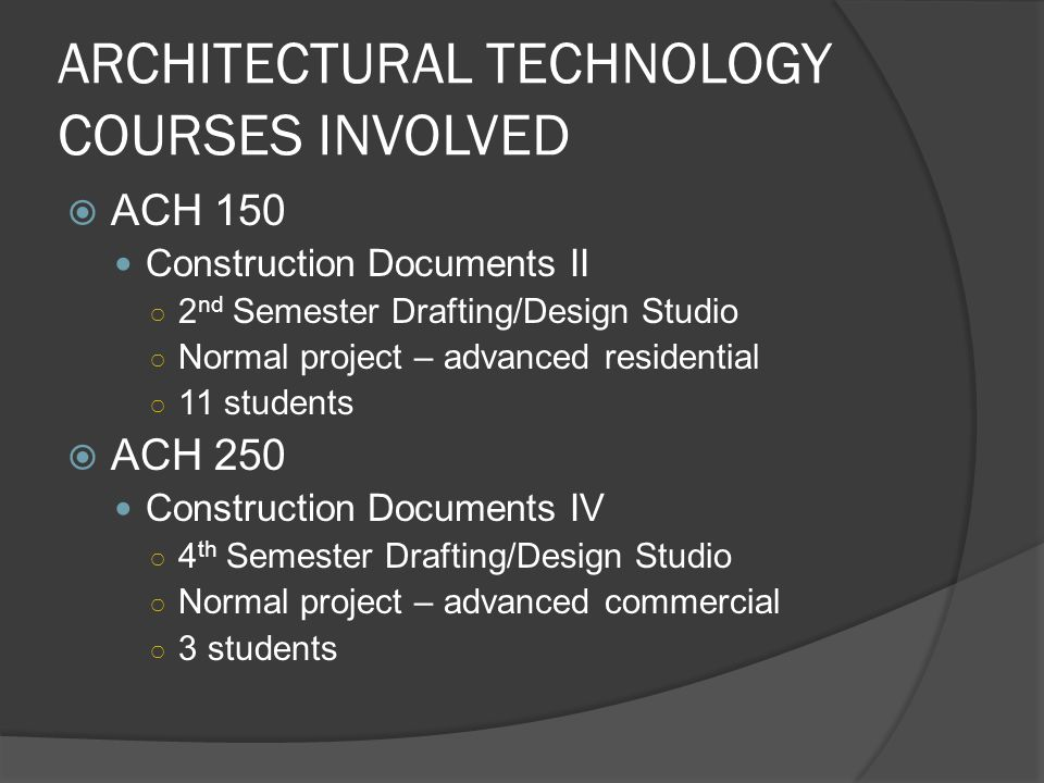 ARCHITECTURAL TECHNOLOGY COURSES INVOLVED ACH 150 Construction Documents II 2 nd Semester Drafting/Design Studio Normal project – advanced residential