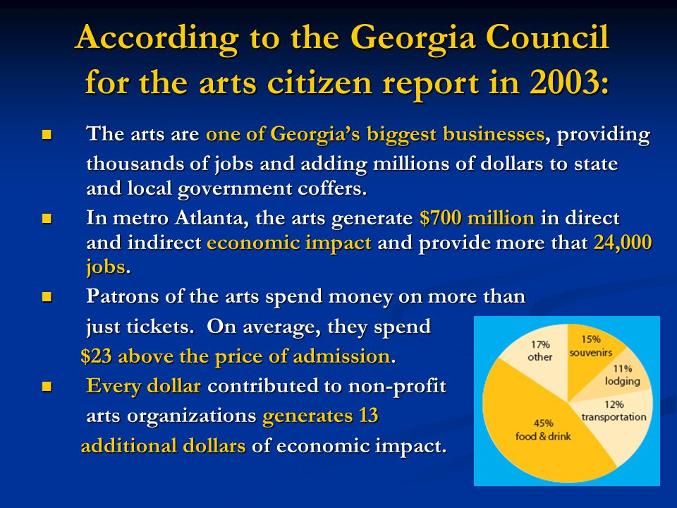 The arts attract tourists Colquitt/Miller Arts Councils Swamp Gravy turns Colquitt County into an arts destination.