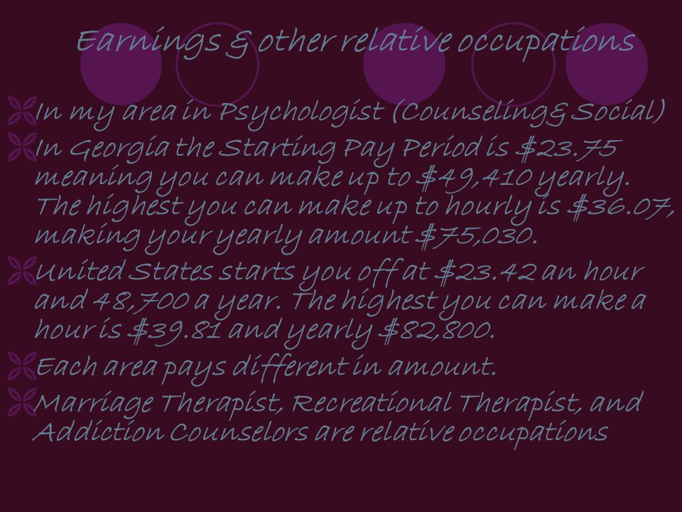 Earnings & other relative occupations In my area in Psychologist (Counseling& Social) In Georgia the Starting Pay Period is $23.75 meaning you can make up to $49,410 yearly.