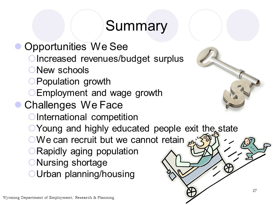 27 Summary Opportunities We See Increased revenues/budget surplus New schools Population growth Employment and wage growth Challenges We Face International competition Young and highly educated people exit the state We can recruit but we cannot retain Rapidly aging population Nursing shortage Urban planning/housing Wyoming Department of Employment, Research & Planning