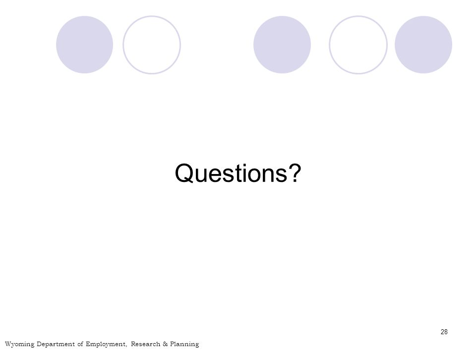 28 Questions Wyoming Department of Employment, Research & Planning