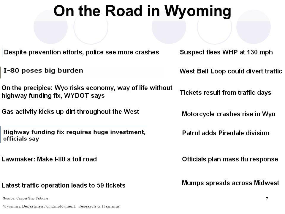 8 Source: D. Leonard, Wyoming Commuting Pattern Data Model, Unpublished Run, February 21, 2008