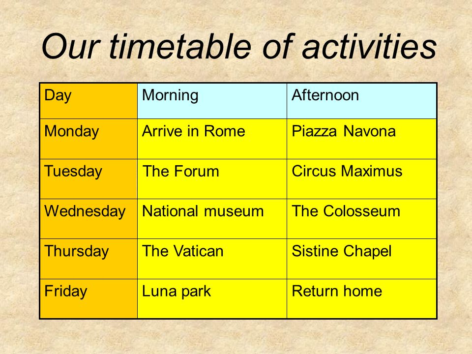 Our timetable of activities Return homeLuna parkFriday Sistine ChapelThe VaticanThursday The ColosseumNational museumWednesday Circus Maximus The Forum Tuesday Piazza NavonaArrive in RomeMonday AfternoonMorningDay