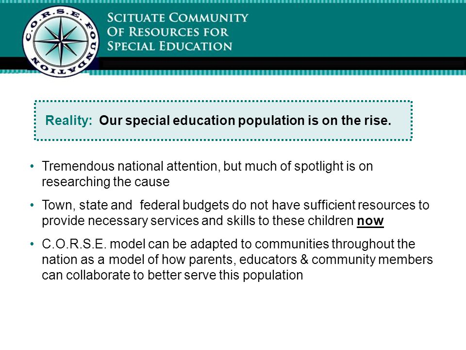 Reality: Our special education population is on the rise.