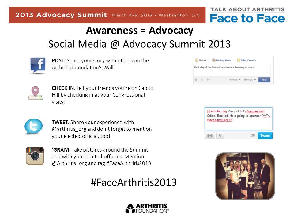 Awareness = Advocacy Social Media @ Advocacy Summit 2013 POST.