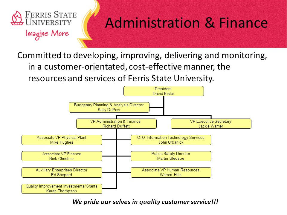 Administration & Finance Committed to developing, improving, delivering and monitoring, in a customer-orientated, cost-effective manner, the resources and services of Ferris State University.