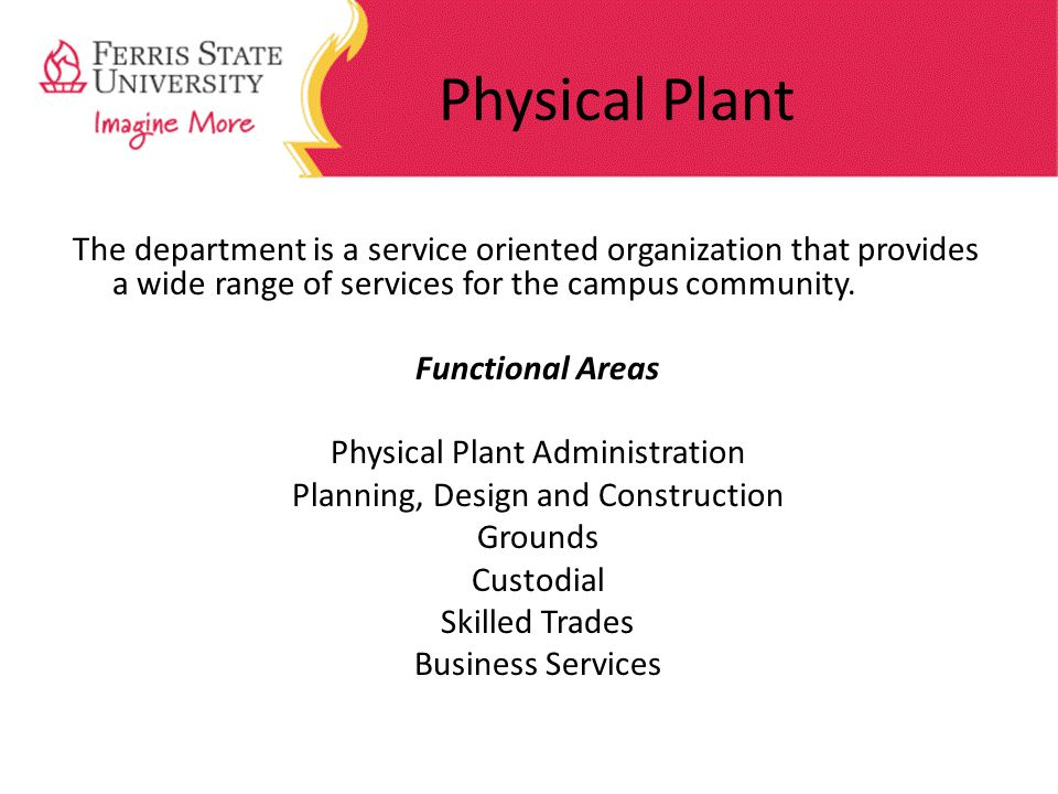 Physical Plant The department is a service oriented organization that provides a wide range of services for the campus community.