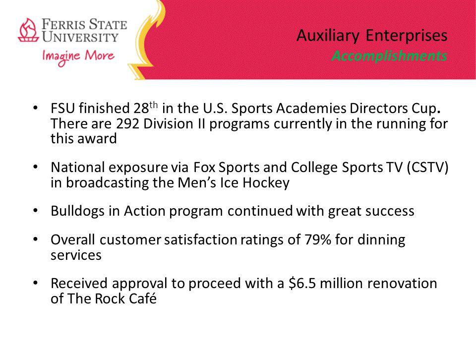 Auxiliary Enterprises Accomplishments FSU finished 28 th in the U.S.