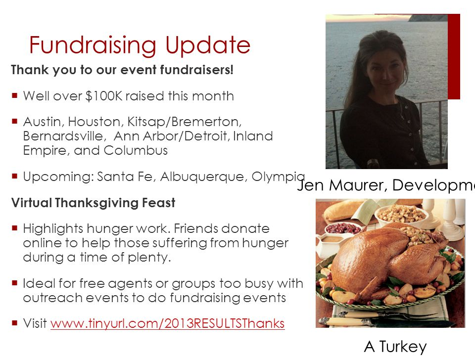 Fundraising Update Thank you to our event fundraisers.