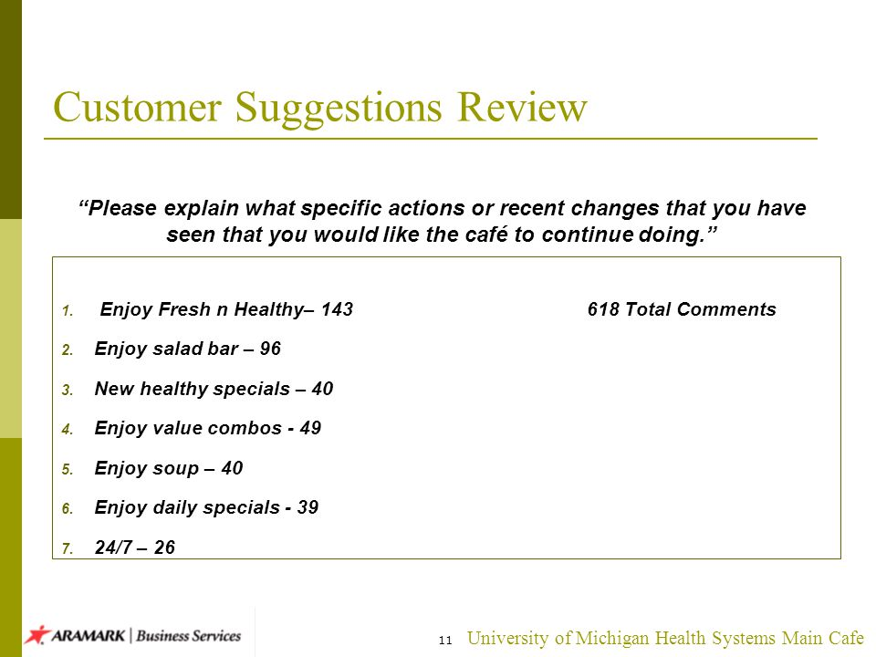 University of Michigan Health Systems Main Cafe 11 Customer Suggestions Review 1.