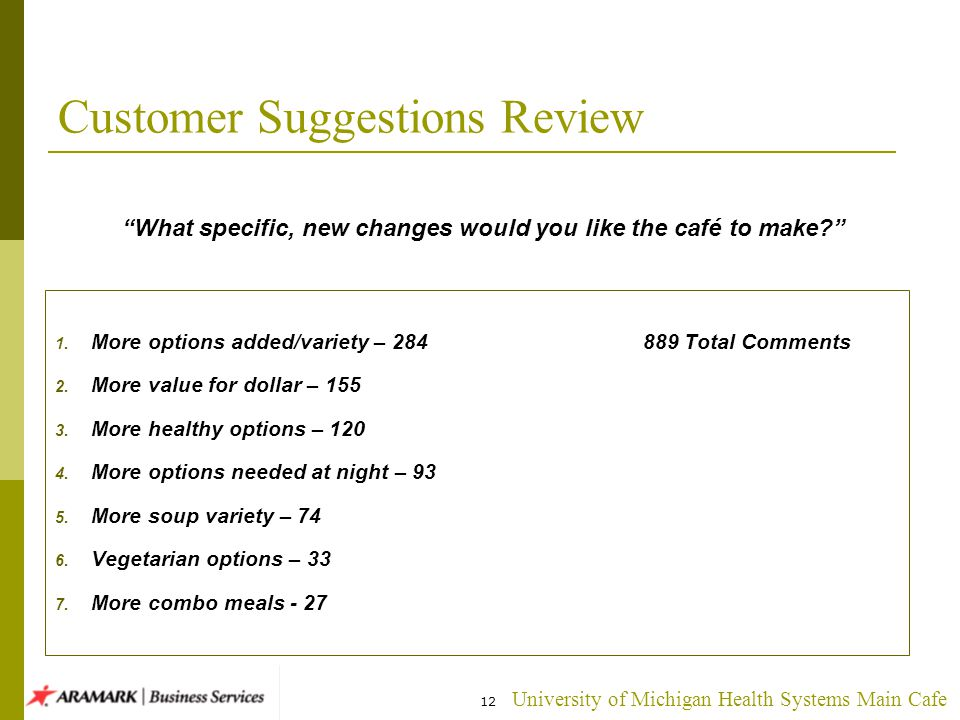 University of Michigan Health Systems Main Cafe 12 Customer Suggestions Review 1.