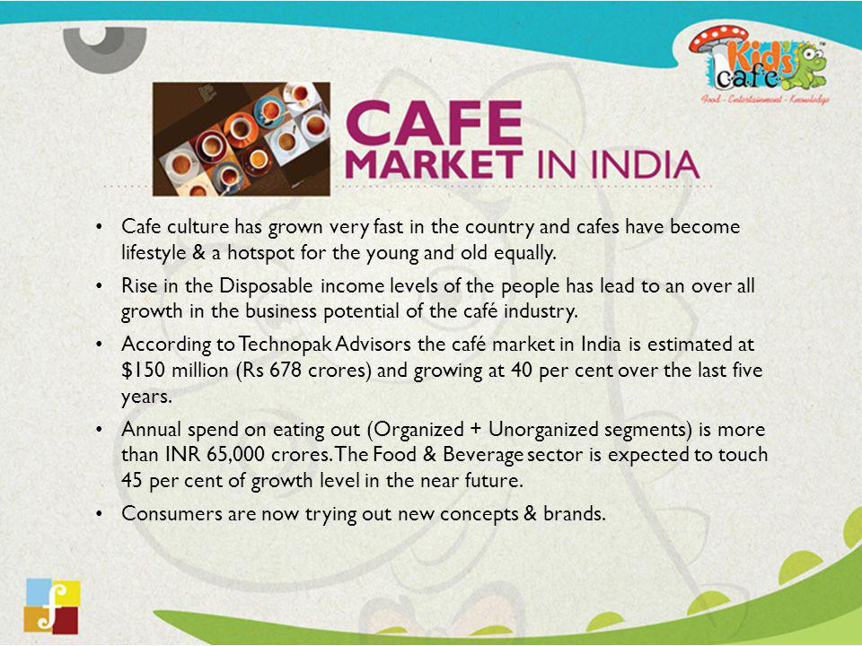Cafe culture has grown very fast in the country and cafes have become lifestyle & a hotspot for the young and old equally. Rise in the Disposable inco