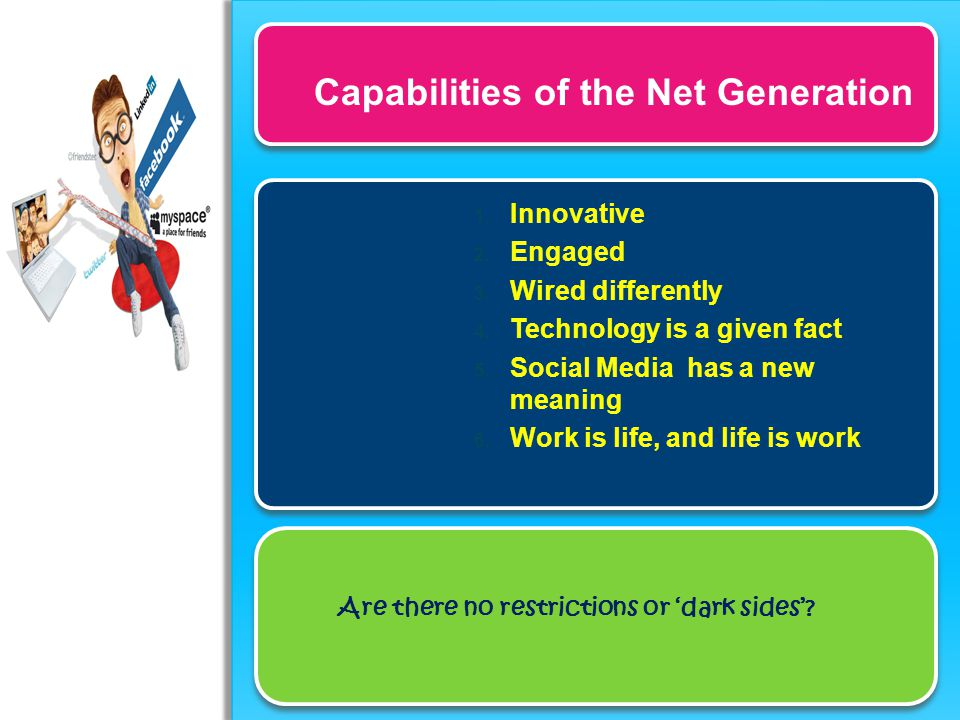 Capabilities of the Net Generation 1. Innovative 2. Engaged 3. Wired differently 4. Technology is a given fact 5. Social Media has a new meaning 6. Wo