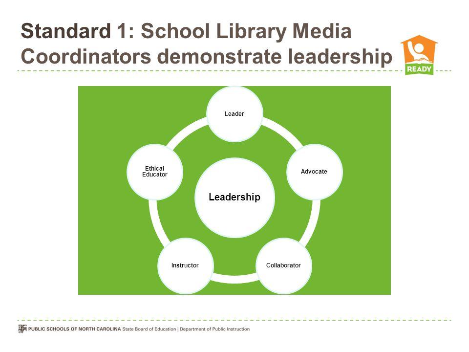 Standard 1: School Library Media Coordinators demonstrate leadership Leadership LeaderAdvocateCollaboratorInstructor Ethical Educator