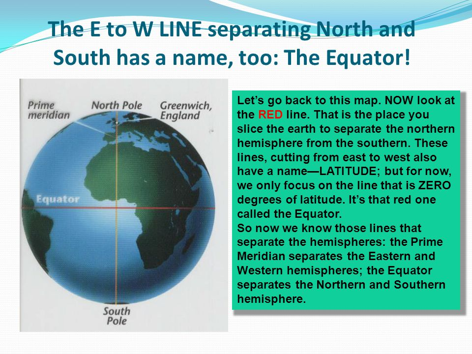 The E to W LINE separating North and South has a name, too: The Equator! Lets go back to this map. NOW look at the RED line. That is the place you sli
