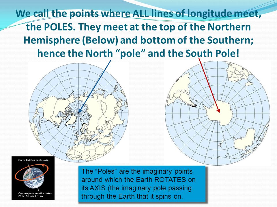 We call the points where ALL lines of longitude meet, the POLES. They meet at the top of the Northern Hemisphere (Below) and bottom of the Southern; h