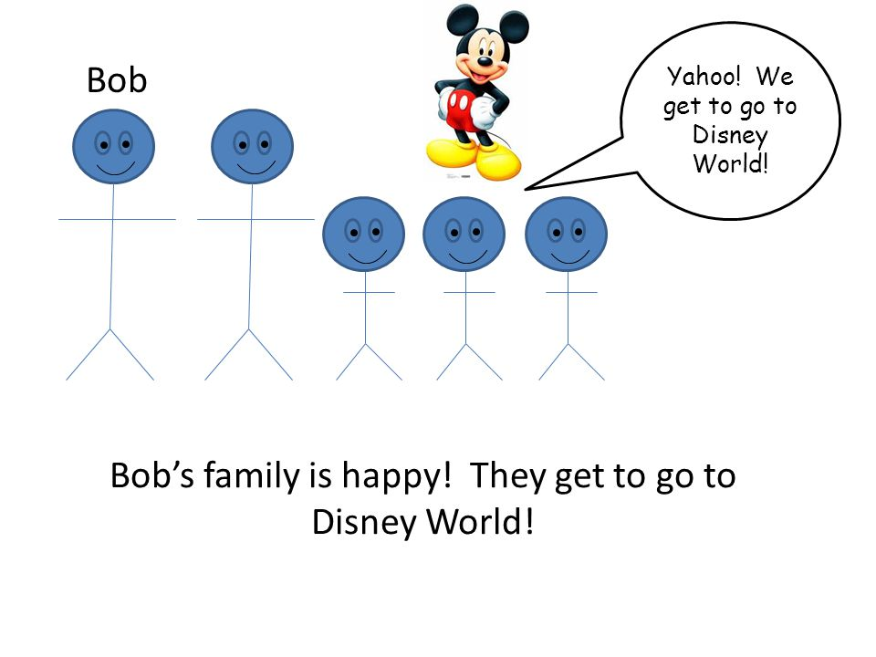 Bobs family is happy! They get to go to Disney World! Bob Yahoo! We get to go to Disney World!