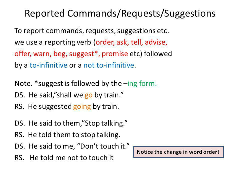 Reported Questions In Reported questions we use affirmative word order and the question mark is omitted. To report a wh-question, we use ask followed