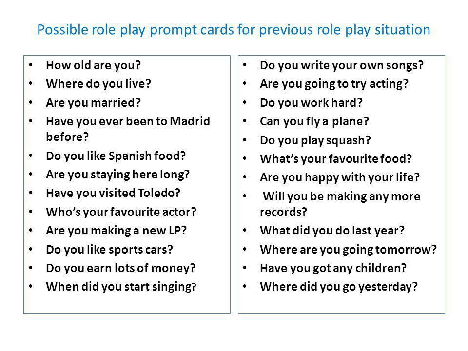 Reported Speech. A Role Play situation You are in a hairdressers in Hollywood. In groups of 3 use the role play cards to act out this situation. Stude