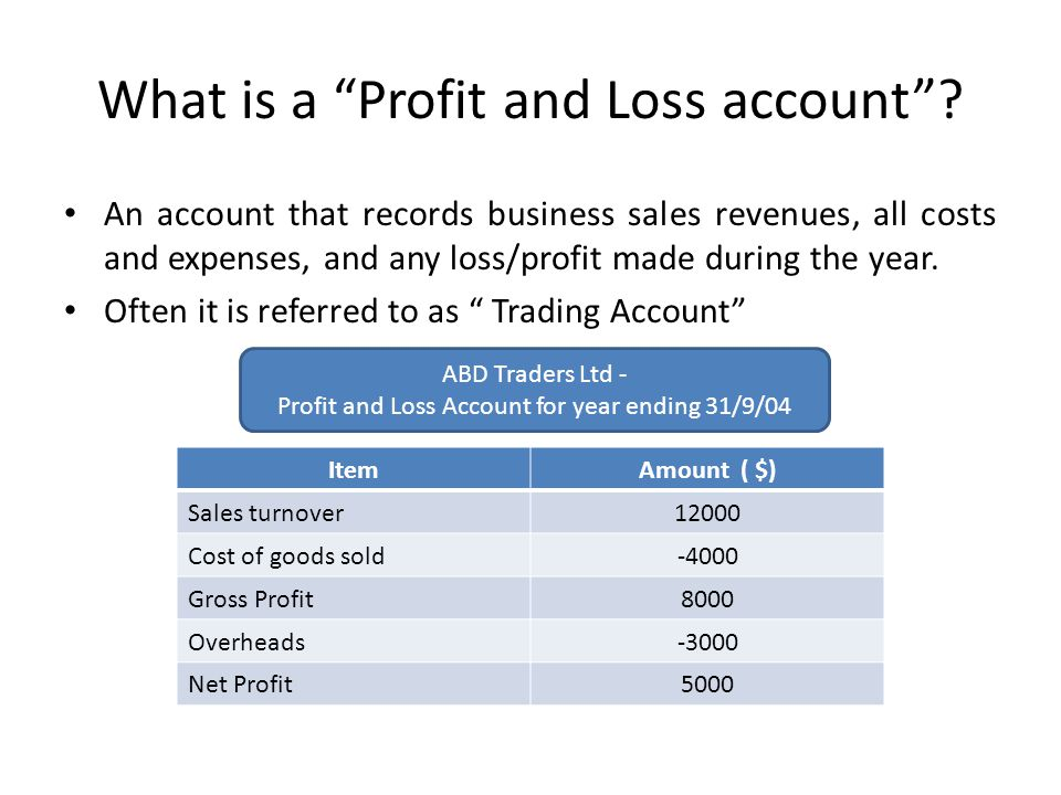 What is a Profit and Loss account.