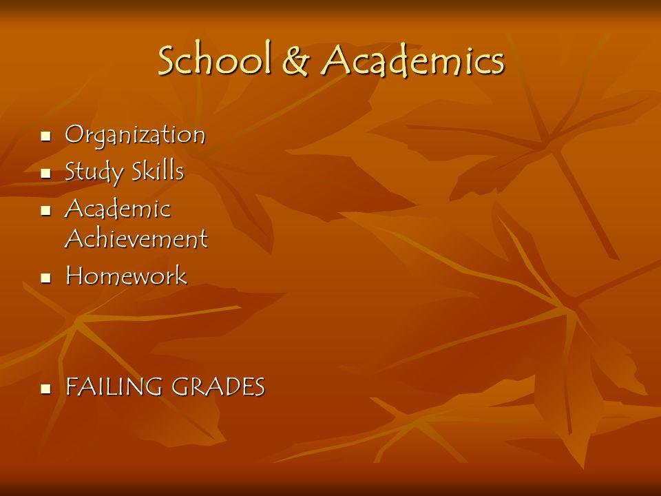 School & Academics Organization Study Skills Academic Achievement Homework FAILING GRADES