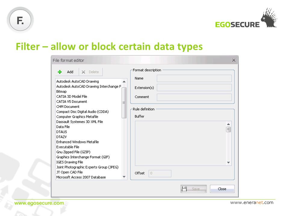 www.eneranet.com Filter – allow or block certain data types