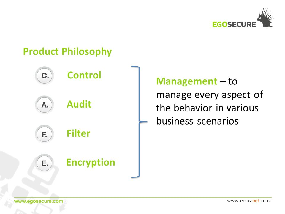 www.eneranet.com Product Philosophy Encryption Filter Audit Management – to manage every aspect of the behavior in various business scenarios Control